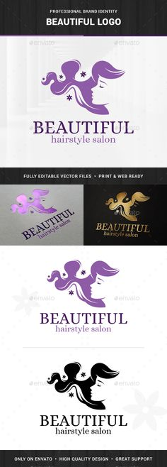 Beautiful - Hair Salon Logo Template Vector EPS, AI. Download here: http://graphicriver.net/item/beautiful-hair-salon-logo/15258676?ref=ksioks