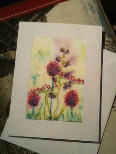 Derwent inktense and graphix line painter flowers card