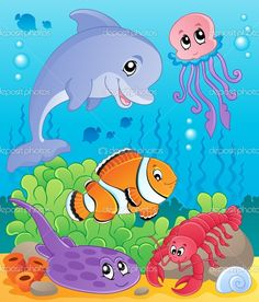 Image with undersea theme 5 - vector illustration. by Klara Viskova, via Shutterstock Cartoon Sea Animals, Cute Animals, Farm Animal Coloring Pages, Kids Room Murals, Under The Sea Theme, Stock Foto, Free Illustrations, Painting For Kids, Fabric Painting