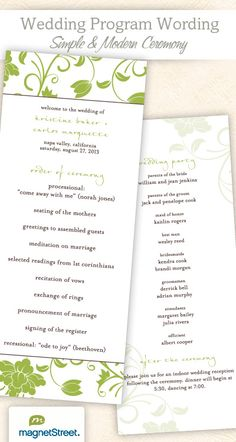 Wedding Ceremony Programs | Wedding Program Wording & Templates | Truly Engaging Wedding Blog