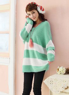Ladies Loose Sleeve Long Sweaters Green Fashionable  Item Code:#YC1023806+Green    US$30.50