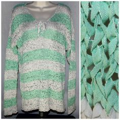 Loose Weave Fishnet Striped Cover Up XL Grunge Blouse Top Sea Foam Green Sonoma #loose #weave #fishnet #striped #coverup #grunge #boho #blouse #top #seafoam #green