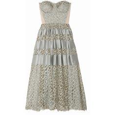 Kleid aus Spitze mit Satinstreifen