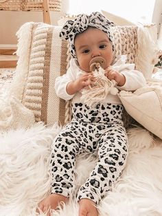 Bow Lace Headbands Turban Hair Band Photography Props Outfit Set H.eternal Baby Girl Bodysuit Jumpsuit All in One Leopard Print Romper Bloomers