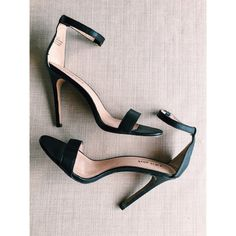 Black Leather Ankle Strap Heels Worn twice, in great condition!! Shoes Heels