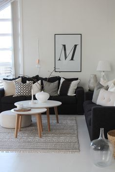 black & white with some textures, pillows, rug, wood, baskets