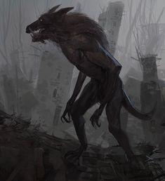 """It Hunts by Moonlight"" Artist Hassan Tabrizi. Dark Fantasy, Fantasy Art, Talking Animals, Dnd Monsters, Were All Mad Here, Arte Horror, Mythical Creatures, Werewolf, Dark Art"