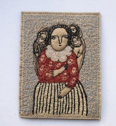 a thoughtful dreamer embroidery portrait folk art by cathycullis