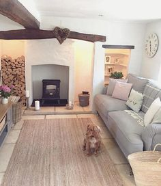 Likes, 78 Comments - Cottage life & interiors ( on Ins. Likes, 78 Cottage Lounge, Cottage Living Rooms, Cottage Interiors, My Living Room, Home And Living, Living Room Decor, Country Lounge, Cottage Rugs, Casa Hygge