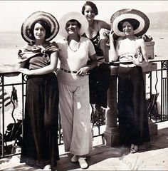 1930 | French Riveria Pajama Pants and Straw Hats