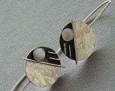 Sterling Silver Earrings with  Mother of  Pearl  - Silver earrings - Sterling silver jewellery - Handcrafted jewelry
