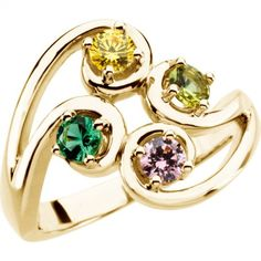 Flowing Four Stone Mothers Ring in 14kt Gold