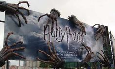 Harry Potter and the Prisoner of Azkaban billboard with hands of the Dementors. Creative advertising.