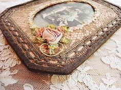 Antique roses and angel | | - Rococo ribbon frame stand antique British and French Eglantyne (Egurantinu)