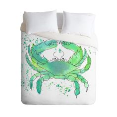 Seafoam Green Crab Duvet Cover in a coastal watercolor design. Add a pop of color to your bedroom decor. Available in Twin/Queen/King