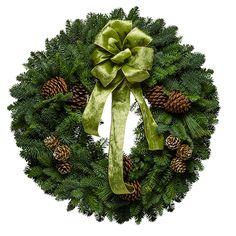 Fresh Victorian Green Wreath #MadeinUSA via BuyDirectUSA.com   Listen closely—you can almost hear the carriage on the cobblestones outside! Echoes of vintage Victorian-era Christmases are brought to life in this inspired Christmas wreath, featuring a velvety green ribbon, delicately painted cones and the crisp scent of Christmastime.