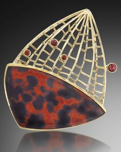Jeff and Susan Wise  Jupiter's Web  18K fabricated gold, carved red jasper and faceted garnets.