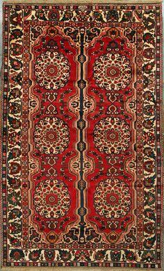 """Bakhtiari Persian Rug, Buy Handmade Bakhtiari Persian Rug 5' 11"""" x 9' 8"""", Authentic Persian Rug"""