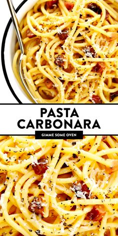 The BEST pasta carbonara! Easy to make with 4 basic ingredients -- spaghetti, guanciale (or bacon), eggs and cheese -- and outrageously delicious. The perfect quick dinner recipe for Italian night! | gimmesomeoven.com #spaghetti #pasta #carbonara #bacon #italian #dinner #easy #noodles Pasta Carbonara, Italian Dishes, Italian Recipes, Sauce Gnocchi, Gimme Some Oven, Italian Night, Italian Party, Cooking Recipes, Healthy Recipes