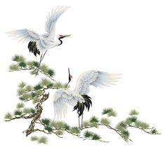 Sticker mural Na grue du Japon - Sticker mural Korean Painting, Japanese Painting, Chinese Painting, Chinese Art, Bracelete Tattoo, Japanese Crane, Art Chinois, Art Asiatique, Traditional Japanese Art