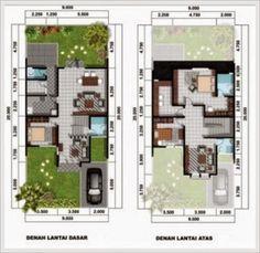 denah rumah minimalis tipe 60 2 lantai