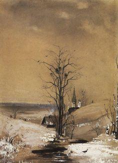 My Dark Romantic Heart (artist-savrasov: Early Spring, Aleksey Savrasov) Russian Painting, Russian Art, Russian Landscape, Art Database, Realism Art, Office Art, Winter Landscape, Landscape Photos, Early Spring