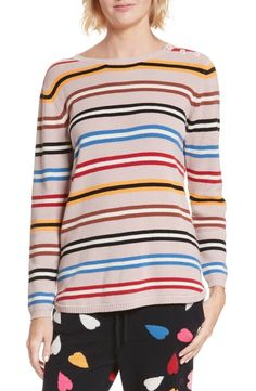 a6059b5933 Bright mixed stripes ring a deliciously soft cashmere sweater knit in  classic crewneck style. Striped