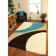 Helsinki 1960 Teal Blue, Brown & Cream Thick Pile Soft Next Style Shaggy Rugs