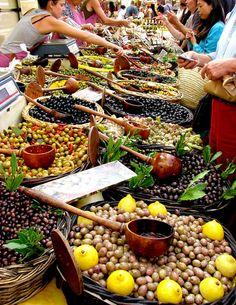 Olive stand, St. Remy de Provence market, France. Photo byUCMe