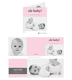 A Baby Story - Pink Tri-Fold Girl Photo Square Birth Announcement
