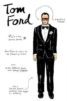 Joana Avillez's illustrations of Famous Fashion People - Tom Ford ... love, love, love!