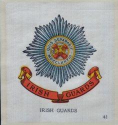 IRISH GUARDS - Regimental Badges, Union Flag & Colours - 1915 John Sinclair Ltd Silk Cigarette Card Flag Colors, Colours, Ireland Uk, Union Flags, Modern Warfare, British Army, Vintage Labels, Nice Body, Badges