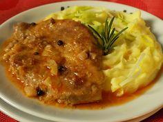 Výpečky na smažené cibuli, hrubozrnné hořčici a medu Polenta, Pork Meat, Easy Cooking, Mashed Potatoes, Sausage, Bacon, Good Food, Food And Drink, Menu