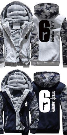 Mens Casual Game Tom Clancy's Rainbow Six Siege Hoodies Zip up Thick Winter Super Warm Cotton Sweatshirts Coats