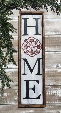 Firefighter HOME Wood Sign BLACK Firefighter | Etsy