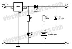 This battery backup circuit can be added to surveillance systems like alarms and others to power the circuit during mains failure. The battery backup will Battery Charger Circuit, Solar Charger, Electrical Circuit Diagram, Power Supply Circuit, 9 Volt Battery, Electronic Schematics, Electrical Installation, Electronics Projects, Diy Electronics