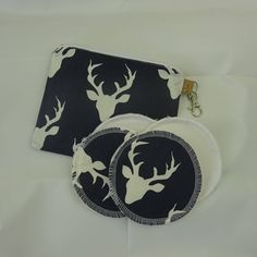 Hello Bear Buck Forrest cream and navy print zipper pouch with reusable breastfeeding nursing pads set, gifts for her, stocking fillers Modern Cloth Nappies, Nursing Pads, Cosmetic Pouch, Waterproof Fabric, Coordinating Fabrics, Stocking Fillers, Zipper Pouch, Printed Cotton, Breastfeeding