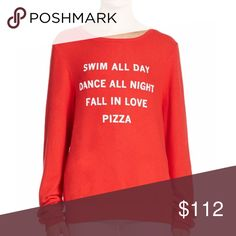 """CHRISTMAS SALE ✨🍕 WILDFOX Couture Pizza Party BBJ Nubby soft, dropped shoulder pullover with contrast graphic lettering. Whimsical message on a never worn Baggy Beach Jumper from Wildfox Couture. Make me an offer! 🏊🏼♀️💃🏼💗🍕 Long sleeves Banded collar, cuffs and hem About 26"""" from shoulder to hem Rayon/polyester/spandex Machine wash Made in USA 🇺🇸 sold out in stores! Wildfox Sweaters Crew & Scoop Necks"""