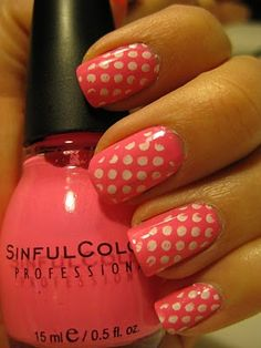 pink polka-dots, had my toenails painted exactly like this one summer, loved it!