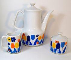 Vintage 13 Piece Tea Set Coffee Service Blue and by MidCenturyMary