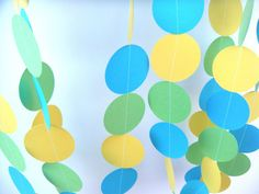 Birthday Party Paper Garland - Lime Green, Yellow and Electric Blue Crayon Heart, Blue Yellow, Green, Blue Party, Boy First Birthday, Electric Blue, Holiday Parties, First Birthdays, Party Favors