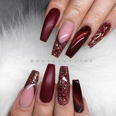 GORGEOUS coffin nail design with cats eye burgundy red and red glitter french tip! Beautiful nails by Ugly Duckling Nails page is dedicated to promoting quality, inspirational nails created by International Nail Artists Maroon Nails, Burgundy Nails, Red Nails, Glitter Nails, Hair And Nails, Red Glitter, Red Burgundy, Gold Nail, Glitter Shoes