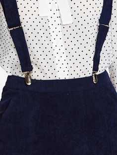 Cord skirt with suspenders