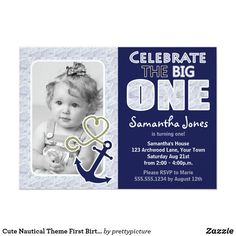 Cute Nautical Theme First Birthday Party Blue Card #birthdayparty #invitations
