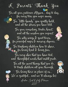 A parents thank you poem teacher appreciation print great gift for daycare provider nursery nanny or when day care owner retired these did an amazing thing Daycare Provider Gifts, Preschool Teacher Gifts, Teachers Day Gifts, Presents For Teachers, Teacher Christmas Gifts, Teacher Appreciation Poems, Teacher Poems, Letter To Teacher, Teacher Thank You