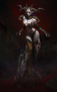 Artstation - empress of desire, yoon seseon dark fantasy art, fantasy artwork, fantasy Fantasy Girl, Fantasy Women, Dark Fantasy Art, Fantasy Artwork, Dark Art, Demon Art, Anime Demon, Character Concept, Character Art
