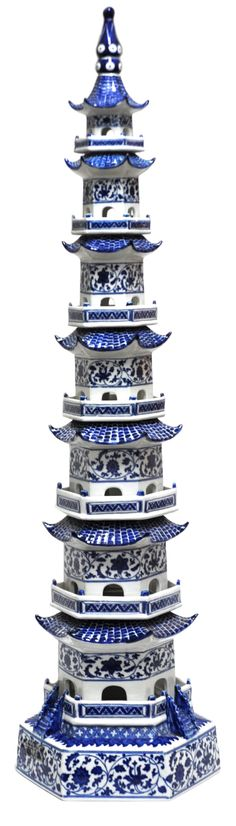 Hand Painted Blue and White Porcelain Pagoda Tower