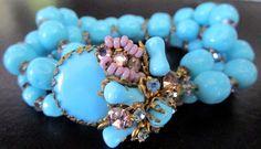 MIRIAM HASKELL Purple & Blue Glass Bead Rhinestone Vintage Bracelet