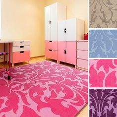 Product Description: Add a trendy accessory to your child's bedroom with this polyester area rug. Featuring bright colors and a damask design, this comfortable rug is perfect for children of any age to enjoy.