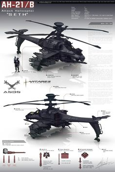 This is a concept art of a futuristic helicopter. Attack Helicopter, Military Helicopter, Military Aircraft, Concept Ships, Concept Cars, Cyberpunk, Future Weapons, Sci Fi Ships, Futuristic Cars